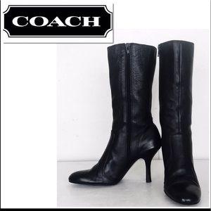 Coach Anna Black Full Grain Leather Mid Calf Boots